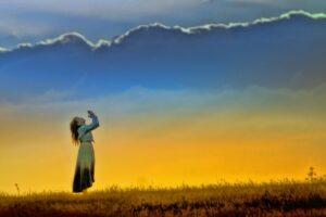 sunset_girl_worship_field_prayer_nature_sun_female-766848